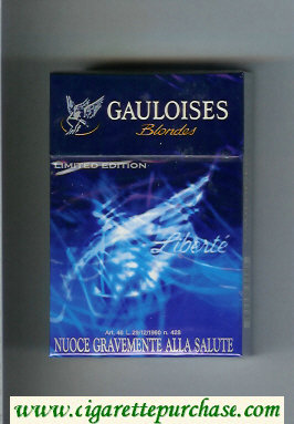Discount Gauloises Blondes Limited Edition Liberte Filter blue cigarettes hard box