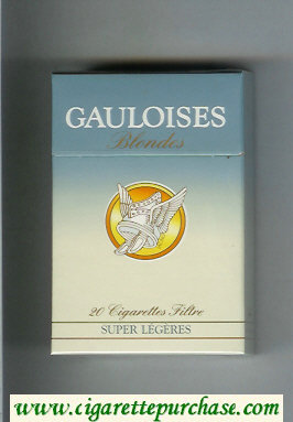 Discount Gauloises Blondes Super Legeres yellow and blue Cigarettes hard box