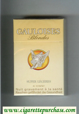 Discount Gauloises Blondes Super Legeres yellow Cigarettes hard box