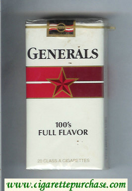 Generals 100s Full Flavor cigarettes soft box