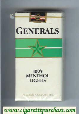 Generals 100s Menthol Lights cigarettes soft box