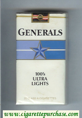 Generals 100s Ultra Lights cigarettes soft box