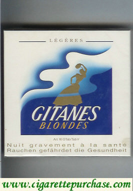 Discount Gitanes Blondes Legeres white and blue cigarettes wide flat hard box