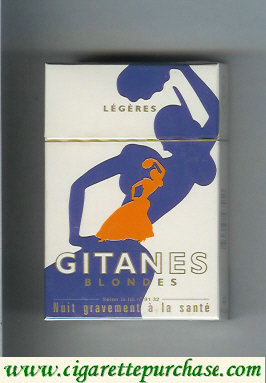 Discount Gitanes Blondes Legeres white and blue and orange cigarettes hard box