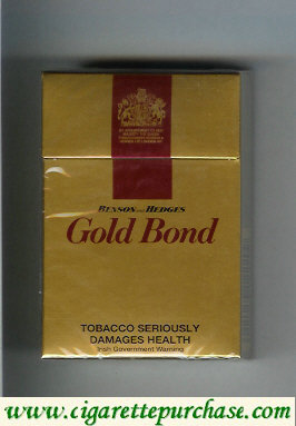 Discount Gold Bond Benson and Hedges gold and red cigarettes hard box