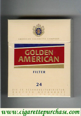 Golden American Filter yellow and red 24 cigarettes hard box