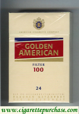 Golden American Filter 100s yellow and red 24 cigarettes hard box