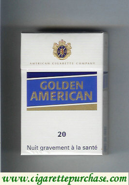 Golden American 20 white and blue cigarettes hard box