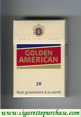 Golden American 20 yellow and red cigarettes hard box