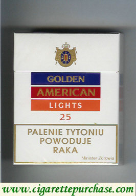 Golden American Lights 25s cigarettes hard box