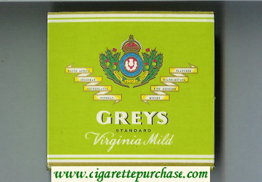 Greys Standard Virginia Mild Cigarettes wide flat hard box
