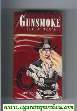 Discount Gunsmoke Western Blend Filter with cowgirl brown 100s cigarettes hard box
