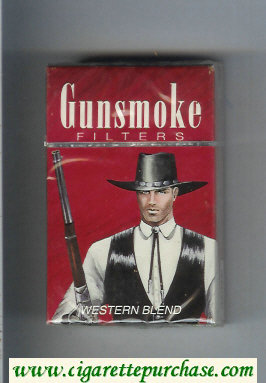 Discount Gunsmoke Western Blend Filters with cowboy brown cigarettes hard box