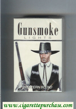 Discount Gunsmoke Western Blend Lights with cowboy white cigarettes hard box