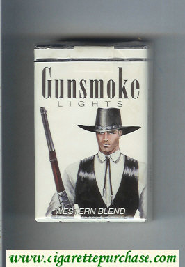 Discount Gunsmoke Western Blend Lights with cowboy white cigarettes soft box