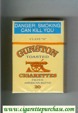 Discount Gunston Toasted Cigarettes Filter American Blend yellow hard box