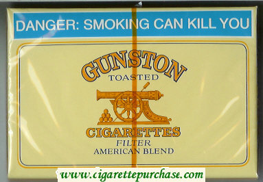 Discount Gunston Toasted Cigarettes Filter American Blend yellow wide flat hard box