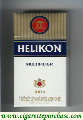 Helikon Multifilter 100s white and gold and blue cigarettes hard box