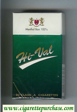Hi-Val Menthol Box 100s cigarettes hard box