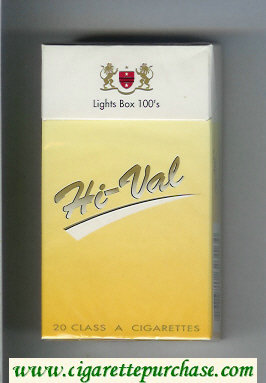Hi-Val Lights Box 100s cigarettes hard box