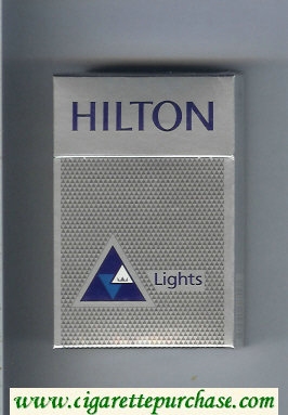 Hilton Lights silver with triangle cigarettes hard box