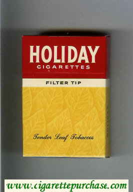 Holiday cigarettes Filter Tip Tender Leaf Tobaccos yellow and red hard box