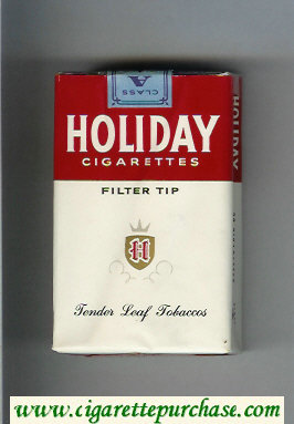 Holiday cigarettes Filter Tip Tender Leaf Tobaccos white and red soft box