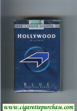 Hollywood Filter Blue American Blend blue and light blue and black cigarettes soft box