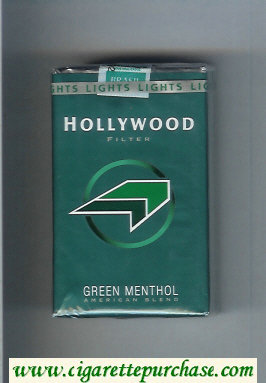 Hollywood Filter Green Menthol American Blend green and light green and black cigarettes soft box