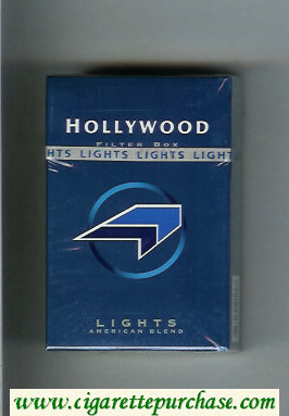 Hollywood Filter Lights American Blend blue and light blue and black cigarettes hard box