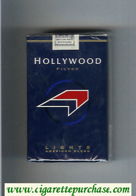 Hollywood Filter Lights American Blend blue and red and black cigarettes soft box