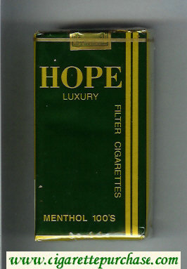 Hope Luxury Menthol 100s Filter cigarettes soft box