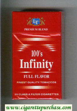 Discount Infinity Full Flavor Premium Blend 100s cigarettes hard box