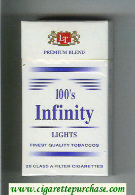 Discount Infinity Lights Premium Blend 100s cigarettes hard box