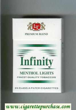 Discount Infinity Premium Blend Menthol Lights cigarettes hard box