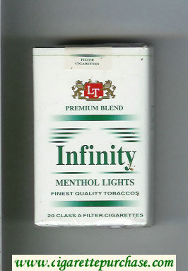 Discount Infinity Premium Blend Menthol Lights cigarettes soft box