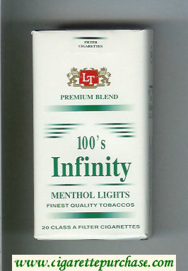 Discount Infinity Menthol Lights Premium Blend 100s cigarettes soft box