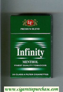 Discount Infinity Premium Blend Menthol cigarettes hard box