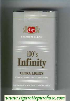 Discount Infinity Ultra Lights Premium Blend 100s cigarettes soft box