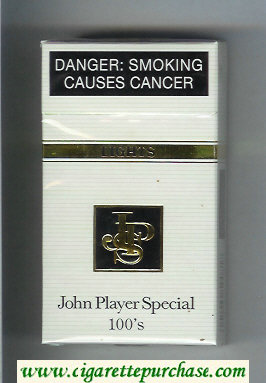 Discount John Player Special 100s Lights white and black cigarettes hard box
