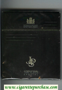John Player Special International black 100s cigarettes wide flat hard box
