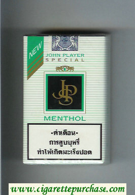 Discount John Player Special Menthol white and black cigarettes soft box