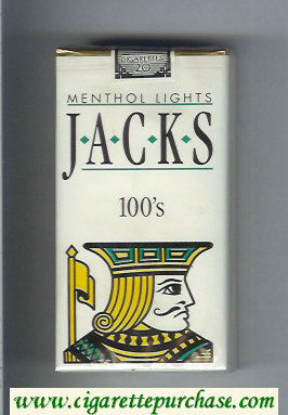 Jacks Menthol Lights 100s cigarettes soft box
