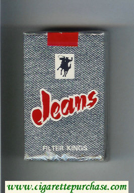 Jeans Filter Kings with cowboy on horse cigarettes soft box