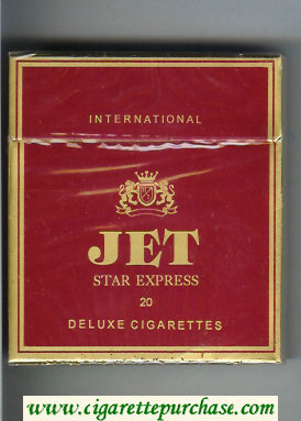 Jet Star Express 20 Deluxe Cigarettes 100s International wide flat hard box