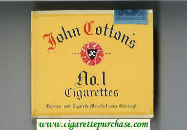 Discount John Cotton's No 1 cigarettes wide flat hard box