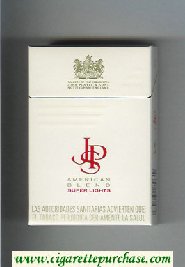 Discount John Player Special American Blend Super Lights white red cigarettes hard box