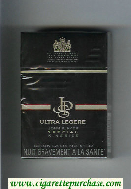 Discount John Player Special Ultra Legere black cigarettes hard box