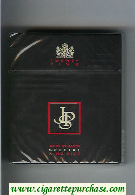 Discount John Player Special Twenty Five black 25s cigarettes hard box