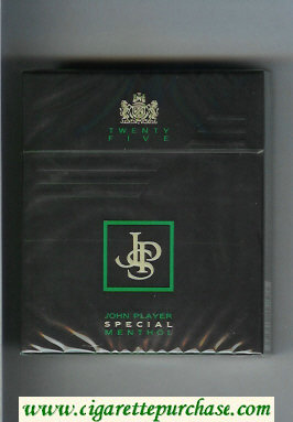 Discount John Player Special Menthol Twenty Five black 25s cigarettes hard box